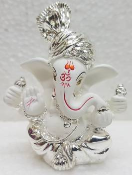 Gold Art India Silver Plated White Terracotta Pagdi Ganesha 3
