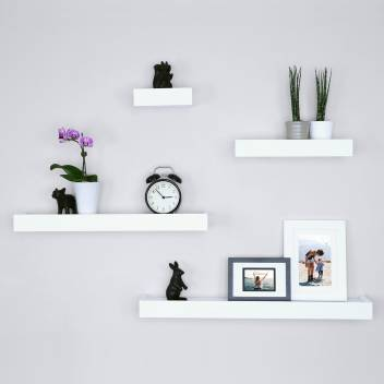 Driftingwood Floating White Wall Shelf For Living Room Set Of 4 Wooden Wall Shelf Price In India Buy Driftingwood Floating White Wall Shelf For Living Room Set Of 4 Wooden Wall
