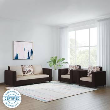 Terrific Bharat Lifestyle Nano Fabric 3 1 1 Cream Brown Sofa Set Theyellowbook Wood Chair Design Ideas Theyellowbookinfo