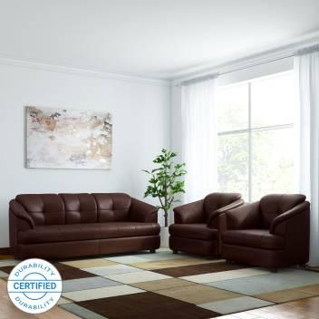 Gioteak Ana Leatherette 3 1 Brown Sofa Set