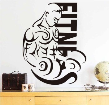 Sports Gym Equipment DIY Wall Art Stickers Fitness Dumbbell Giant Wall Clock