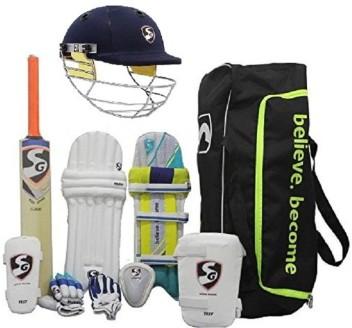 11 Pcs Cricket Kit Set Bat Ball Helmet Pad Leg Guard Gloves//