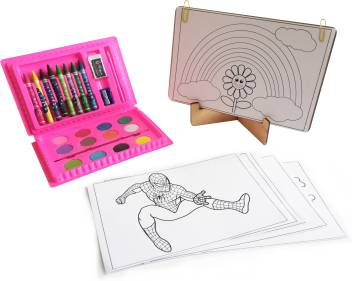 Kit4curious Kids Art Gallery Gift Pack 3d Puzzle Coloring Art Kit With Color Set Diy Gallery Stand 10 Coloring Sheets And Instruction Manual Kids Art Gallery Gift Pack