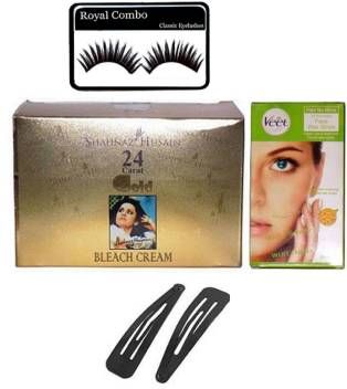 Royal Combo Eyelashes Veet Hair No More Face Wax Strips Upper Lips Short Hair For All Skin Types Instant Hair Removing Reusable Wax 12 Strips Shahnaz Husain Gold Bleach Hair Clips Price In India