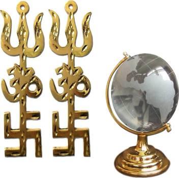 Ratnatraya Combo Of Energized Om Swastik Shiva Trishul Trishakti Yantra Brass Wall Door Hanging For Vastu