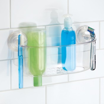 InterDesign Suction Bathroom Caddy Shower Storage Shelf Shampoo Soap Clear Large