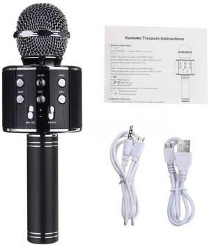 JD WS-10 Wireless Handheld Bluetooth Mic with Speaker (Bluetooth Speaker)  Audio Recording and Karaoke Feature Microphone Handheld 10