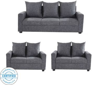 GIOTEAK CANBERRA Fabric 3 + 2 + 2 Grey Sofa Set