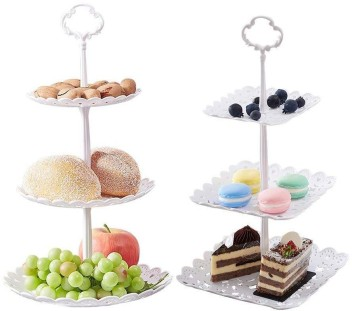 3-Tier Cake Stand and Fruit Plate Cupcake Plastic Stand White for ...