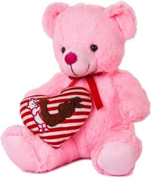"Soft Figure Teddy Bear Plush Pink Heart Teddy Bear Valentines Birthday Gifts 30/"""