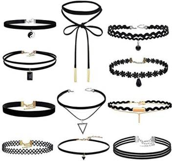 Acerich Choker Set Black Velvet Choker Necklace Gothic Tattoo Chokers For Women Girls Pack Of 11 Choker Set Black Velvet Choker Necklace Gothic Tattoo Chokers For Women Girls Pack Of 11