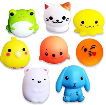 HLXY Bath Toys for Kids 8 Pack Light up Toys Flashing Colourful Light Baby Shower Bathtime Bathtub Toys For Kids and Toddler Rubber Cat Octopus Frog Bear Rabbit Seal Egg and Chick