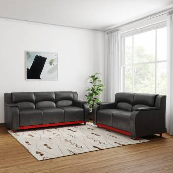 Kurlon Hayden Leatherette 3 + 2 Black Sofa Set