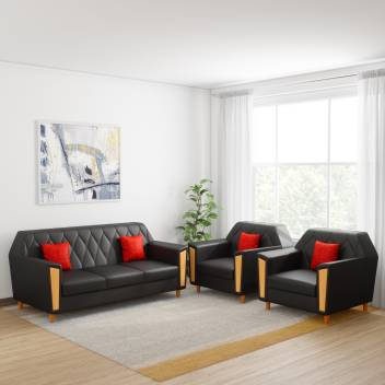 Marvelous Kurlon Crescent Leatherette 3 1 1 Black Sofa Set Cjindustries Chair Design For Home Cjindustriesco