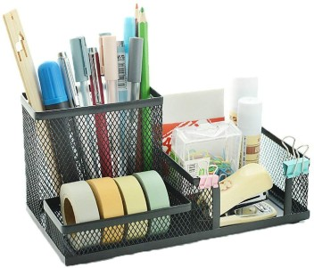 Snow Cooler Mesh Pen Organizer Pencil Organizer Desk Office Organizer Black Pen Holder for Desk 7 Compartments