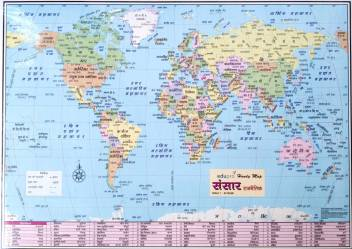 world political map (hindi) Paper Print - Maps posters in ... on india cities map, india map history, india map mumbai, india map bangla, india map asia, india map indo-gangetic plain, india map gujarat, india map states and rivers, india map art, india map hinduism, india map delhi, india map geography, india map in tamil, india map urdu, india map maharashtra, india map rajasthan, india map punjabi, india map english, india map nepal, india map state names,