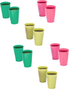 Set of 4 Bright Coloured Plastic Tumblers Cups Stacking Mugs