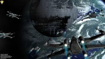 medium pwl star wars x wing death star space sci fi wall poster original imaek7n4vcyuusye
