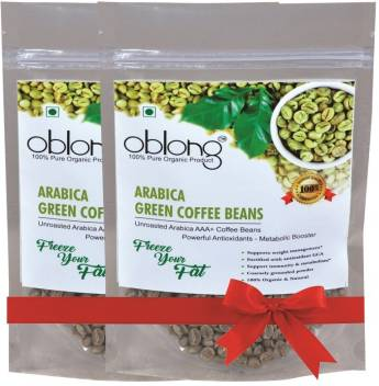 Oblong Premium Quality Green Coffee Beans 200gm Pack Of 2 Instant