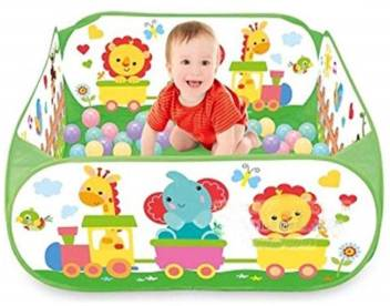 buy popular 2461b 1c5c5 IndusBay Cartoon Jungle Theme Ball Pool Colourful Pop-up Kids Play Tent  Ball Ocean Ball Pit pen for babies with 40 Balls