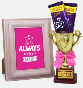 Tied Ribbons Valentine S Day Gift For Wife Combo Pack Golden Trophy Dairy Milk Chocolates And Quoted Photo Frame Image Replaceable Wooden Gift Box Price In India Buy Tied Ribbons Valentine S Day Gift For