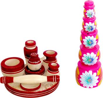 Tovick Attractive Handcrafted Eco Friendly Wooden Toy Kitchen Set