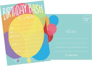 Hadley Designs 25 Balloon Rainbow Party Invitations For Kids