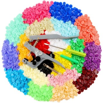 Snap Fastener kit 360 Sets T5 Plastic Buttons for Sewing and Crafting