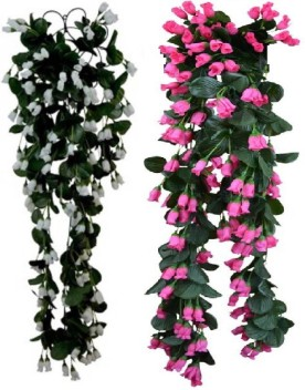 kaykon Artificial Flowers Hanging Rose Kali Buds Home Decor Flowers With  Iron Net , Pack of 2 , Height 32 inch White, Red Rose Artificial Flower