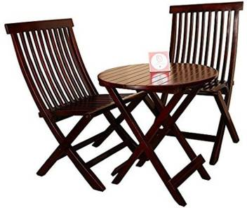 Polish Round Table.Allie Wood Sheesham Wooden Pu Polish Mahogany Finish 2 Folding Chair And Round Table Red Solid Wood 2 Seater Dining Set