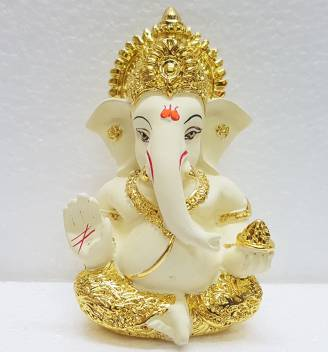 Gold Art India Gold Art India Gold Plated Off White Mukut Ganesha