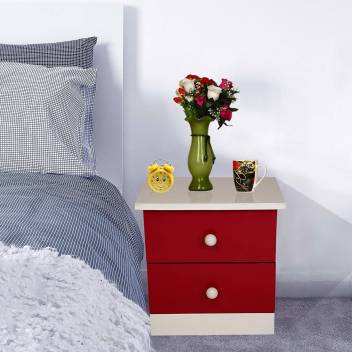 Allie Wood Bedside Pre Embled Red And White Cabinet With 2 Drawers Engineered Table