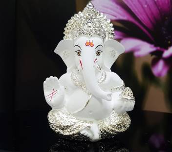 Gold Art India Silver Plated White Mukut Ganesha 9x5x4 Ganesha