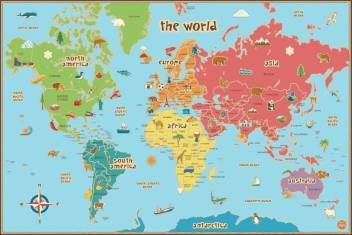 World Childrens Fun Map Flex 48 X 36 Inchs Paper Print Maps Posters In India Buy Art Film Design Movie Music Nature And Educational Paintings Wallpapers At Flipkart Com