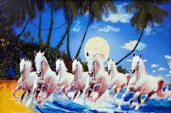 Masstone Vastu Seven Running Horses Sparkle Coated Self Adhesive