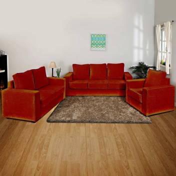 PRIMROSE Eclipse Fabric 3 + 2 + 1 Dark Orange Sofa Set