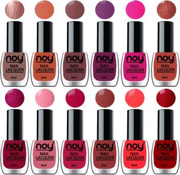 Noy Quick Dry Long Lasting Nail Polish Combo Offer Set Of 12 Metallic Brown Tan Brown Wine Pink Copper Magenta Carrot Pink Peach Brown Neon Orange Red