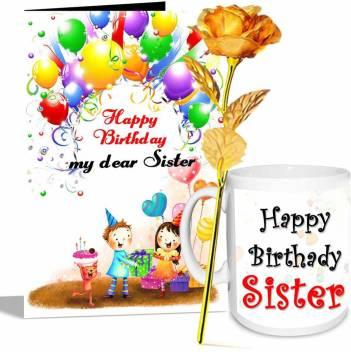 Alwaysgift Happy Birthday My Dear Sister Greeting Card Mug Golden Rose Hamper Price In India Buy Alwaysgift Happy Birthday My Dear Sister Greeting Card Mug Golden Rose