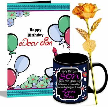 Alwaysgift Happy Birthday Dear Son Greeting Card Mug Golden Rose Hamper Price In India Buy Alwaysgift Happy Birthday Dear Son Greeting Card Mug Golden Rose Hamper Online
