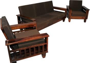 Allie Wood Wooden Sheesham Sofa Set For Living Room Brown Cushion Fabric 3 1 Teak Finish
