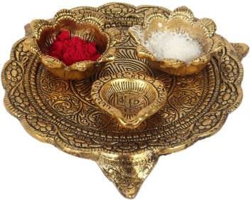 Dreamkraft Metal Gold Plated Pooja Thali Set For Home Decor And Festive Decor Aluminium Price In India Buy Dreamkraft Metal Gold Plated Pooja Thali Set For Home Decor And Festive Decor