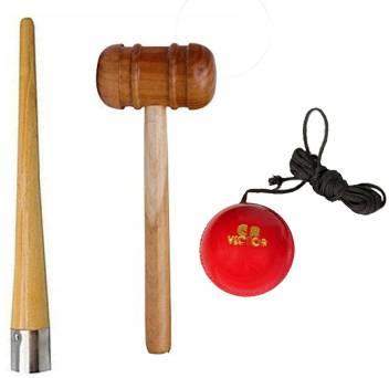 L'AVENIR Premium Hanging Practice/Training Ball, Grip Cone & Wood Mallet  Cricket Kit