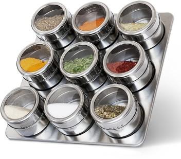9PC  Kitchen Glass /& Stainless Steel Spice Storage jar Set Salt pepper Seasoning