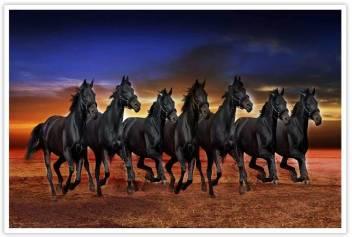 The Black Stallion Seven Horse Running Paper Poster Paper Print