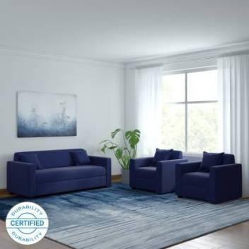 Flipkart Perfect Homes Fabric 3 + 1 + 1 Navy Blue Sofa Set
