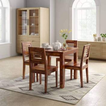 timeless design f62db c3a37 True Furniture Sheesham Wood Square Dining Table Set with 4 ...