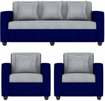 gnanitha Fabric 3 + 1 + 1 grey blue Sofa Set