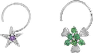 Shine Jewel Rhodium Plated Sterling Silver Nose Stud Set Price In India Buy Shine Jewel Rhodium Plated Sterling Silver Nose Stud Set Online At Best Prices In India