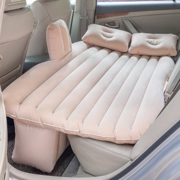 Inflatable Travel Camping Car Seat Sleep Rest Mattress Air Bed with Pillow Black