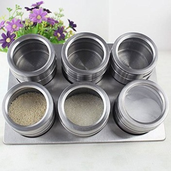 6 Piece Stainless Steel Magnetic Spice Jars With Wall Mounting Stand Fridge Rack